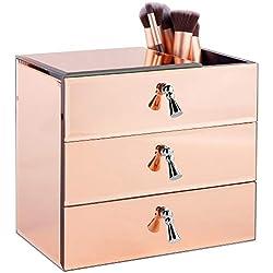 Beautify Boîte à bijoux 3 tiroirs - Couleur or rose - Effet miroir - Solution de rangement pour table ou bureau (Miroir)