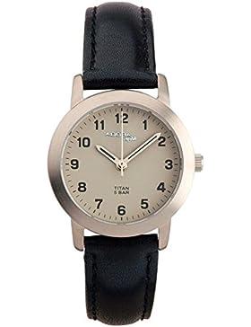 Damenuhr Armbanduhr Quarzuhr Analoguhr Titan mit Saphirglas und PU-Band Adora Saphir 29169