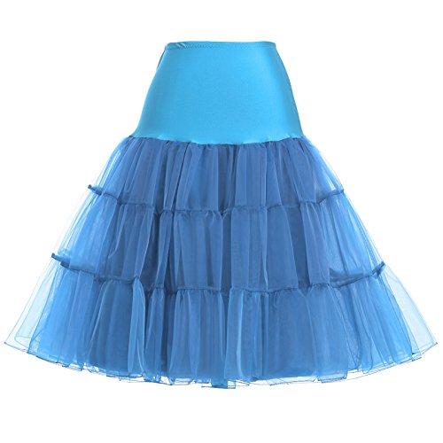 Einfach damen 50s Retro Unterrock für Kleid Ballkleider Abendkleider Brautkleid Hellblau Größe XL...