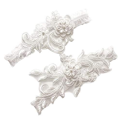 Lanzou Giarrettiere da Sposa Giarrettiere da Sposa in Pizzo Bianco Set di Giarrettiere per Donne da Sposa Set di 2 40 cm