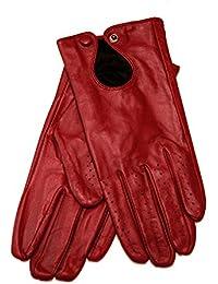 Gants en cuir d'agneau pour femme très élègants Noir Rouge ou Marron