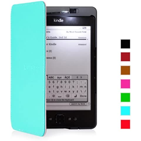 Mulbess® Amazon Kindle 4 Funda de cuero Piel Genuina con luz Amazon para Kindle 4 color Tiffany (sólo sirve para el