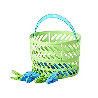 Rice DK Collapsible Plastic Laundry Clothes Peg/Clips Basket with 20 Clothes Pegs (GREEN)
