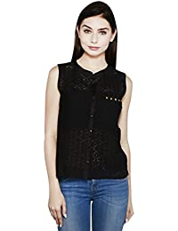 I AM FOR YOU Black Lace Sleeveless Shirt For Women