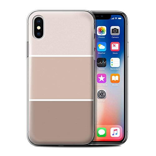 Stuff4 Gel TPU Hülle / Case für Apple iPhone X/10 / Lila Muster / Pastell Farbton Kollektion Braun