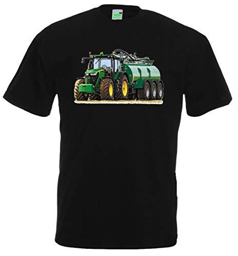 Kinder T-Shirt | Bildmotiv, JD mit Güllewagen | Schwarz | Größe 152