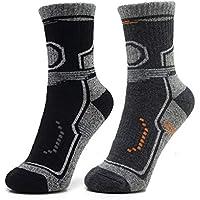 ANSUG 2 Pares de Correr Calcetines de Senderismo para Hombre, Espesar Calcetines de tripulación Acolchados