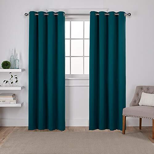 Exclusive Home Isolierte Verdunkelungsvorhänge, Fenster-Paneele mit Ösen Oben, Satin, Köpergewebe (2er-Set), Polyester, Sapphire Teal, 52x84 -