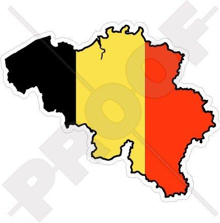 BELGIEN Belgier Karten-Flagge 120mm Auto & Motorrad Aufkleber, Vinyl Sticker