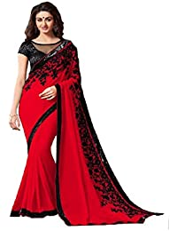 Muskaan Sarees Women's Georgette Saree With Blouse Piece (Exclusive Sarees 16_Red)