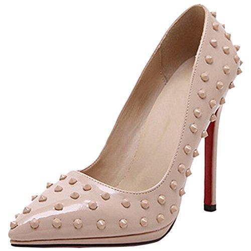 Oasap Damen Stilvolle Nieten Dekoration Highheels Apricot