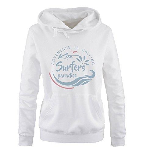 Comedy Shirts - Kite Surfers Paradise - Damen Hoodie - Weiss/Eisblau-Rosa Gr. L