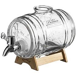 Kilner dispenser per bevande a forma di barile da 1 litro, dispenser per bevande in vetro a forma di barile con supporto rubinetto e misuratore