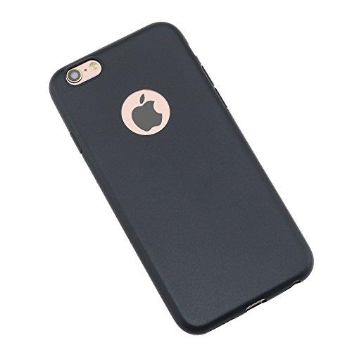iPhone 6Plus Coque, allbuymall Ultra Fin avec Protection [Candy pur] doux Pure Color Premium semi-transparent non encombrement Coque en TPU pour Apple iPhone 6Plus/6S Plus (14cm) noir