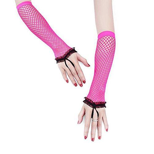 qinlee Damen Spitze Mesh Handschuhe Fingerlose Fischnetz Party Fäustlinge Burlesque Fancy Kleid Lange Handschuhe 45cm rosarot (Fischnetz Handschuhe Fingerlose)
