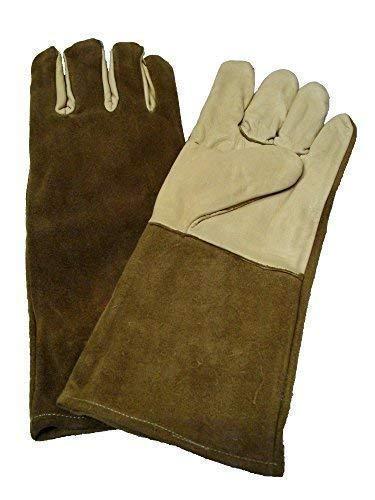 Kaminhandschuhe, Hitzeschutzhandschuhe, Ofenhandschuhe aus echtem Leder, 35 cm lang -