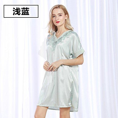 lpkone-Femelle siamois chemise sexy-soie tissée soie pyjama Robe manches courtes dans les glaces des vêtements bleu clair,Taille libre Light Blue