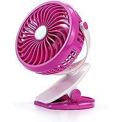 YUJJ Clip Fan, Clip de la Poussette sur USB en Cours de Chargement 360 ° Dortoir étudiant Bureau Rotationmute étudiant Bureau,Pink,e