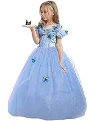 ELSA & ANNA® Mädchen Prinzessin Kleid Verrücktes Kleid Partei Kostüm Outfit DE-FBA-CNDR5