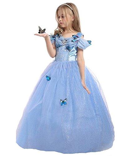 Kostüme Cinderella Prinzessin (ELSA & ANNA® Mädchen Prinzessin Kleid Verrücktes Kleid Partei Kostüm Outfit DE-FBA-CNDR5 (6-7 Jahre,)