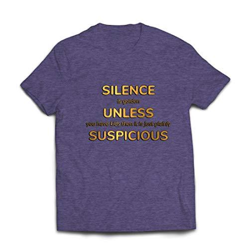 lepni.me Männer T-Shirt Schweigen ist Gold. Es sei denn, du hast Kinder. Familienangebot (Large Heidekrautgrau Mehrfarben)