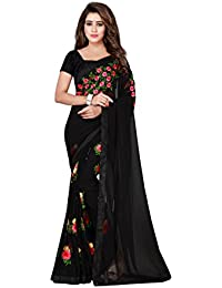 Jenny Fashion Women's Black Cotton Printed Daily Wear Saree With Blouse Piece