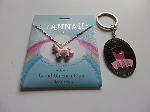 PERSONALISED CLOUD UNICORN NECKLACE FOR HANNAH WITH FREE KEYRING