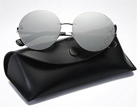 JJH-ENTER Ronde lunettes noires Mme lunettes de soleil mode lunettes de soleil revêtement de lunettes de soleil créatif , mercury
