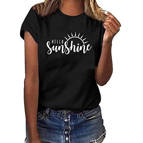 Oyedens T-Shirt Damen Weiß, Sunshine T-Shirt Teenager Mädchen Große Größen Hemd Druck Kurzarm HüLsen T-Shirt Damen Crop Tops Tee Elegant Bauchfrei Oberteile
