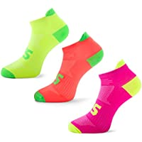 SLS3 Running Socks for Men and Women | Low Cut Anti Blister Cycling Socks | Arch Support | Bright Neon Colors | Very Thin 1 Or 3 Pairs