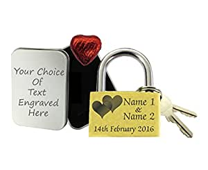 40mm Double Heart Love Lock Personalised Engraved Padlock, Valentines, Present Gift Tin Choc Made And Engraved By TSM Trading