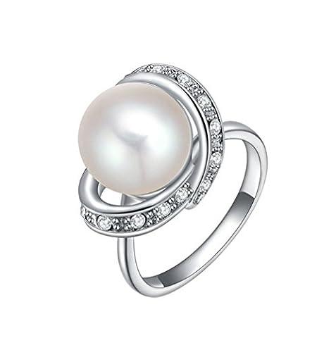 PAURO Damen Platin Überzogene Cultured Knopf Shell Perlen Ring Mit