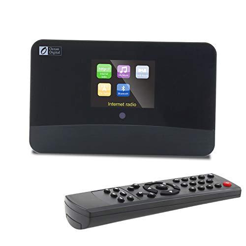 Ocean Digital DBA-03R Dab/Dab + Wi-Fi Radio de Internet Sintonizador de FM/Bluetooth con Salida óptica/Salida de Audio a Altavoces de Alta fidelidad Pantalla a Color-Negro
