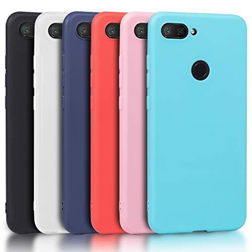 Wanxideng - 6X Funda Xiaomi Mi 8 Lite (No para Xiaomi Mi 8), Carcasa en Silicona - [Negro + Rojo + Azul Oscuro + Rosa + Verde Menta + Azul Claro]