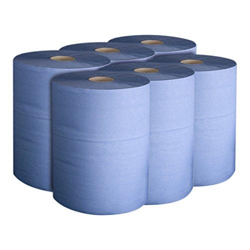STIER Putzpapier-Rollen Basic, 3-lagig, Länge 30cm x Breite 23cm, 6 Rollen, blau