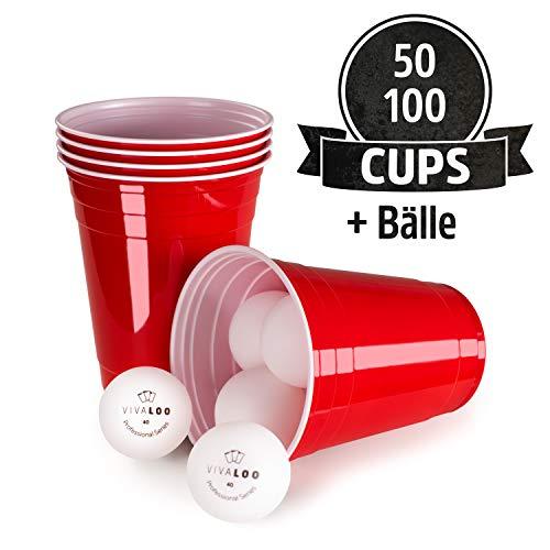 Vivaloo 100 Plastikbecher Bierpongset, 12 Bälle - Trinkbecher Red Cups, Rote Beer Pong Becher 473ml 16oz