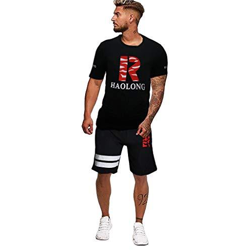 TEBAISE Herren Sportanzug Zweiteiliger Trainingsanzug Jogginganzug Sommer Biker Freizeitanzug Kurze Kurzhose Joggingshose Joggin Shorts + Sportshirt Fitness T-Shirt