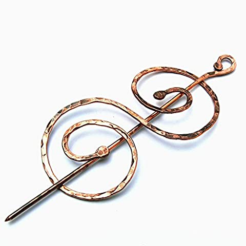 Handmade Antiqued Copper Double Coil Shawl Pin