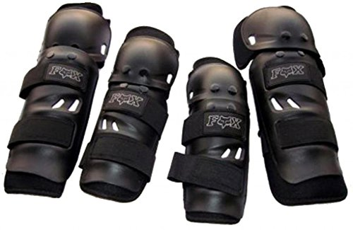 UTTU Fox Motorcycle Riding Knee and Elbow Guard (Black, Set of 4)  available at amazon for Rs.325