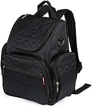 حقيبة لوازم الأم حقيبة ظهر مضادة للماء سعة كبيرة حقيبة حفاضات الأطفال مع وسادة C وحقيبة تخزين بحزام عربة الأطف