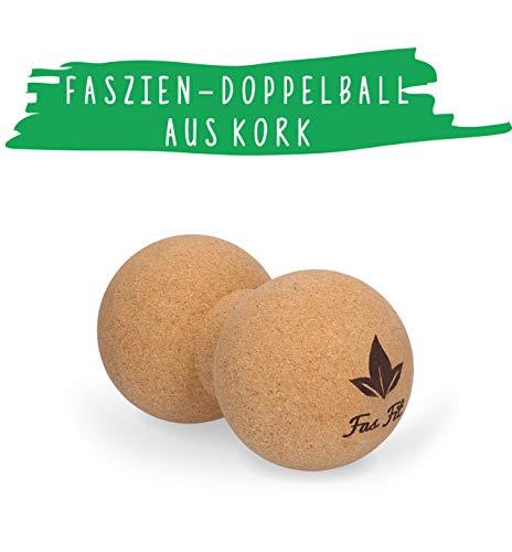 Faszien Fitness Set aus Kork: Duoball - inkl. Poster, Übungsheft, E-Book und Aufbewahrungstasche - Faszientraining nachhaltig und Haut- und umweltfreundlich!