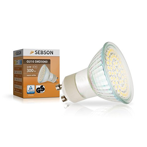 SEBSON GU10 LED 3,5W Lampe – vgl. 35W Halogen – 300 Lumen – GU10 LED warmweiß – LED Leuchtmittel 110° - 230V
