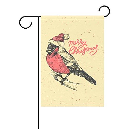 Duble Sided Weihnachten und neues Jahr Dompfaff mit Tanne Polyester HAUS/Garten Flagge Banner 12x 18/71,1x 101,6cm für Hochzeit Party alle Wetter, Polyester, multi, 12x18 (Garden Flags New Jahren)