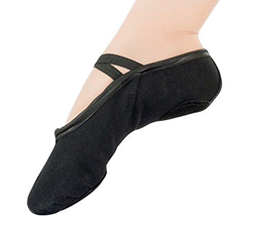 Byqny Transpirable Zapatos De Ballet Zapatillas De Ballet De Danza Baile para Niña Adultos Indoor Gimnasia Artística Pilates Yoga Zapatos Negro 38(Longitud 24 CM)