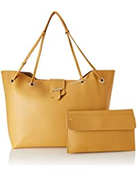 Flavia Women's Handbag with Pouch (Yellow) (Set of 2)