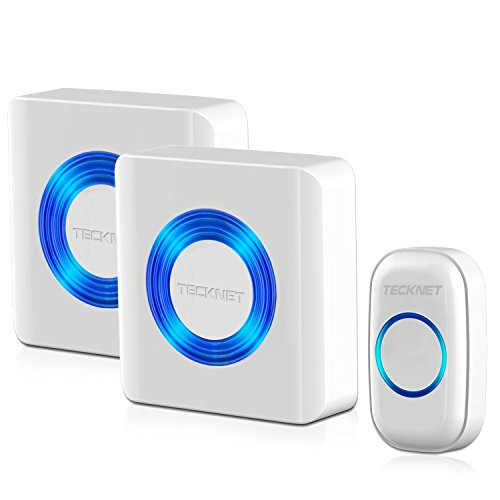 Campanello Senza Fili, TeckNet Premium Wireless Waterproof Doorbell Carillon di Portello Kit, 2 x Plug-in campanello Receiver, 1x Campanello trasmettitore, Funzionamento 500-piede Gamma con 52 Chime Tunes