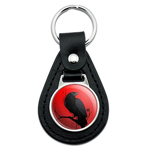 Crow auf Ast schwarz Leder Schlüsselanhänger
