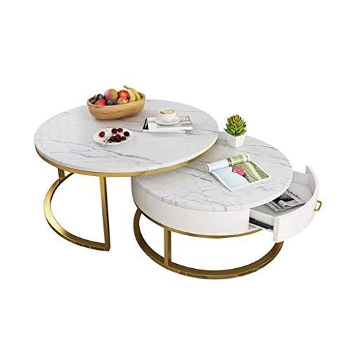 ACZZ Tavolino da salotto, Tavolino rotondo in marmo, Tavolo da pranzo con  tavolino da salotto,C