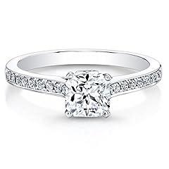 Idea Regalo - Anello di fidanzamento in oro bianco 14ct, con vero diamante da 0,66ct in moissanite taglio cuscino, taglia: I, J, K, L, M, N, O, P, Q, R, S, T, (Q), perfetto per anniversario