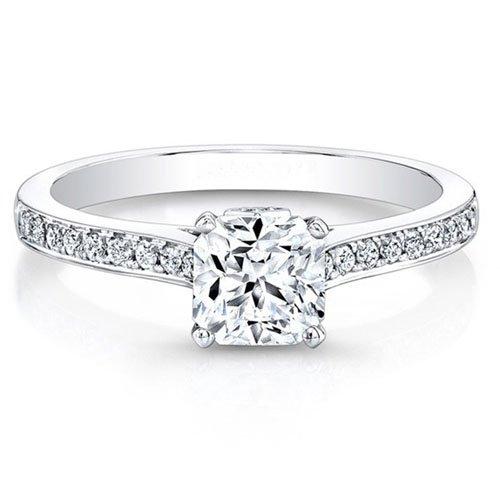 0,66ct Kissen Schnitt Moissanit Echter Diamant Verlobungsring Ehering massives 14K Weiß Gold Solitär Jahrestag Ringe Größe I, J, K L M N O P Q R S T (R) (Solitär-ringe-gold)